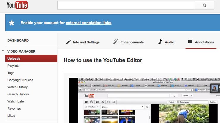 Verify External Links in YouTube